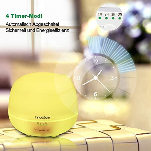 Aroma Diffuser 500ml InnooCare Luftbefeuchter Öl Ultraschall Düfte  Humidifier LED mit 7 Farben für Babies Kinderzimmer Haus, Auto, Wohnzimmer,  ...