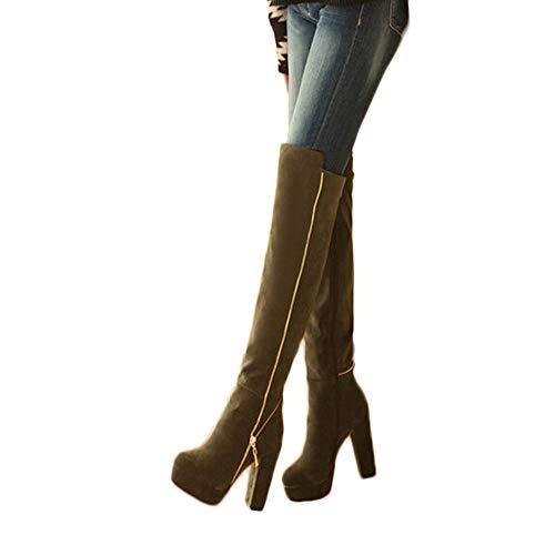 check out 5c7e2 e8073 Geili Damen Overknees Stiefel mit Blockabsatz Frauen Elegante Langschaft  Wildleder Stiefel Plateau Hoher Absatz Reißverschlus High Boots Übergrößen  ...