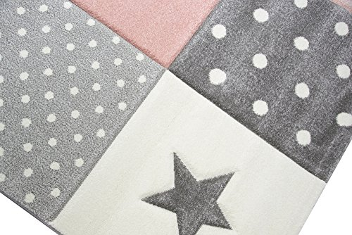 Kinderteppich Spielteppich Teppich Kinderzimmer Babyteppich mit Herz Stern  in Rosa Weiss Grau