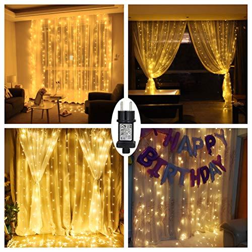 Weihnachtsbeleuchtung Am Fenster.Led Lichtervorhang Warmweiß Für Innen Außen Fenster Weihanchten Geburtstag Party Hochzeit Ip44 31v Niederspannung 8 Lichtmodi 300er Leds