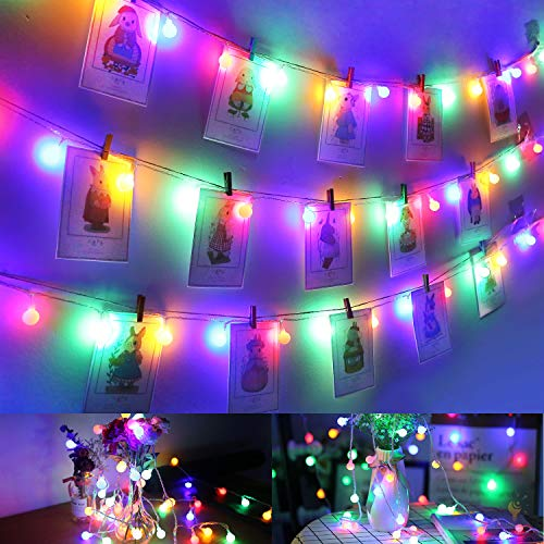 Lichterkette Bunt, Afufu 100er LED Kugel Lichterkette 13m Innen/Außen mit  Fernbedienung, RGB, Memory-Funktion 8 Modi Deko Glühbirne für Weihnachten,  ...