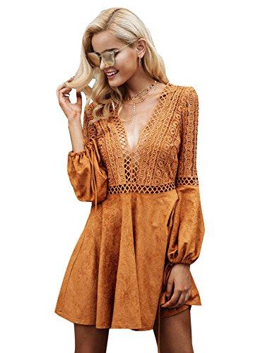 on sale accf8 0f8a8 Missy Chilli Damen Kurz Kleid Elegant Langarm V-Ausschnitt Rückenfrei  Cusual Spitze Kleid mit Trompete Ärmel