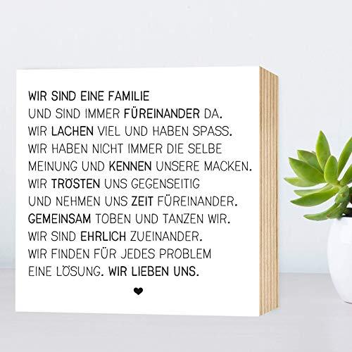 Wunderpixel® Holzbild Wir sind eine Familie - 15x15x2cm zum  Hinstellen/Aufhängen, echter Fotodruck mit Spruch auf Holz - schwarz-weißes  Wand-Bild ...