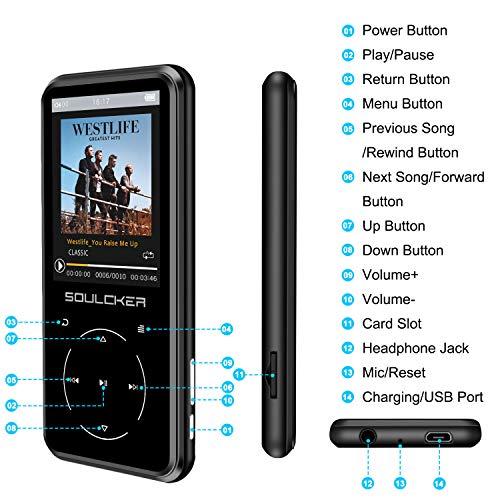 MP3 Player, 16GB Bluetooth MP3 Player mit Kopfhörer, MP3 Player Kinder mit  Lautsprecher FM Radio Voice Recorder 2.4 Zoll TFT Bildschirm, Speicher ...