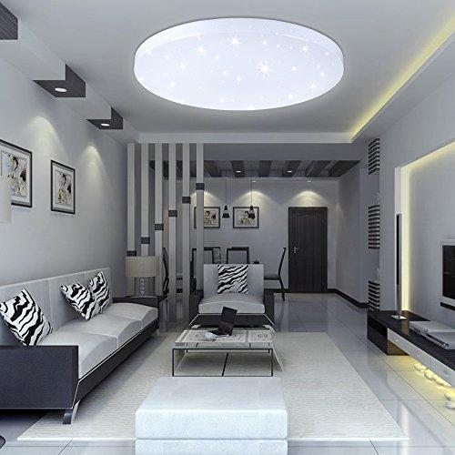 Vingo 16w Led Deckenbeleuchtung Rund Deckenlampe Starlight Effekt Schon Wohnraum Wohnzimmer Lampe Weiss